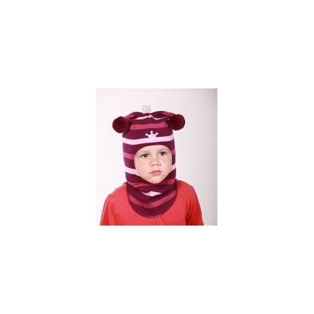 Žaisminga, dryžuota kepurė-šalmas su vilna mergaitei 1412/32