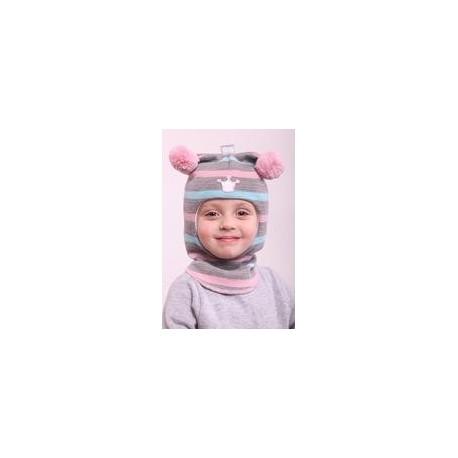 Žaisminga, dryžuota kepurė-šalmas su vilna mergaitei 1412/33