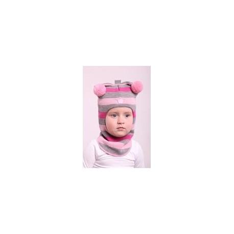 Žaisminga, dryžuota kepurė-šalmas su vilna mergaitei 1412/35