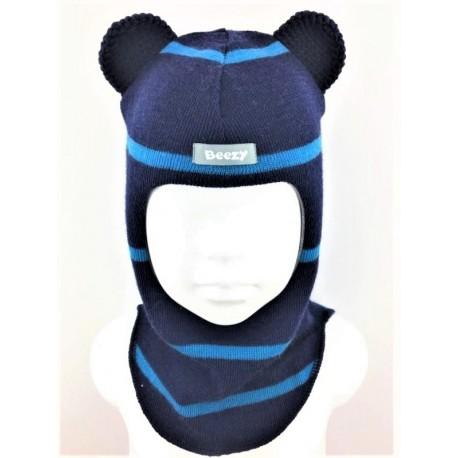 """Dryžuota kepurė-šalmas su vilna berniukui """"Peliukas"""" 1804/42"""