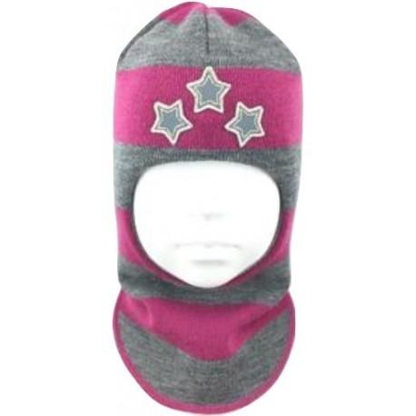 """Dryžuota kepurė-šalmas su vilna mergaitei """"Žvaigždės"""""""