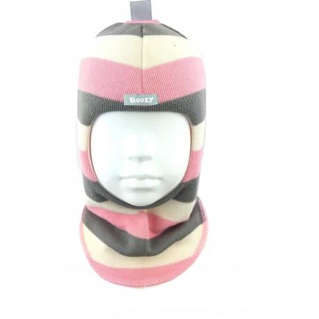 Spalvinga, dryžuota kepurė-šalmas su vilna mergaitei 1405/27