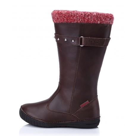 Šokoladinės spalvos aukštaauliai batai su pašiltinimu 31-36 d.