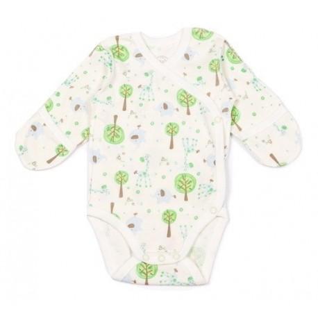 """Spalvingas FLAMINGO smėlinukas ilgomis rankovėmis kūdikiui """"Žalieji medžiai"""" susegamas šone"""