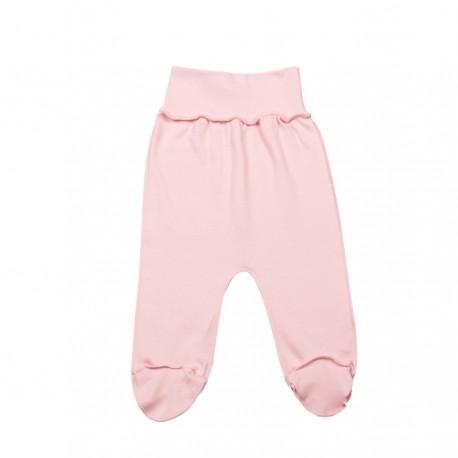 Rožinės FLAMINGO išvirkščiomis siūlėmis kelnės su pėdutėmis