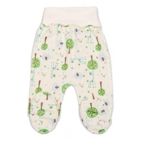 """FLAMINGO kelnės kūdikiui """"Žalieji medžiai"""" išvirkščiom siūlėm su pėdutėmis"""