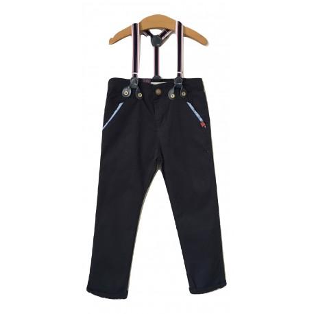 Juodos stilingos klasikinio kirpimo kelnės su petnešomis BK10012