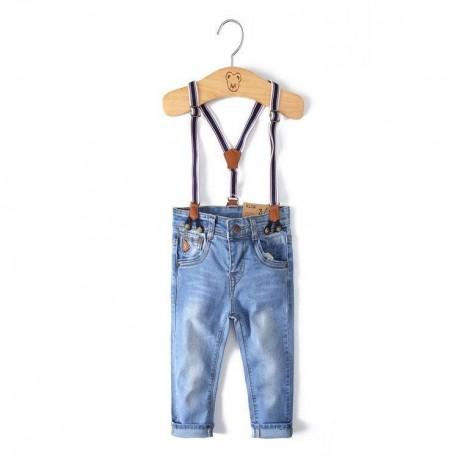 Mėlyni elastingi klasikinio kirpimo džinsai su petnešomis Star Place