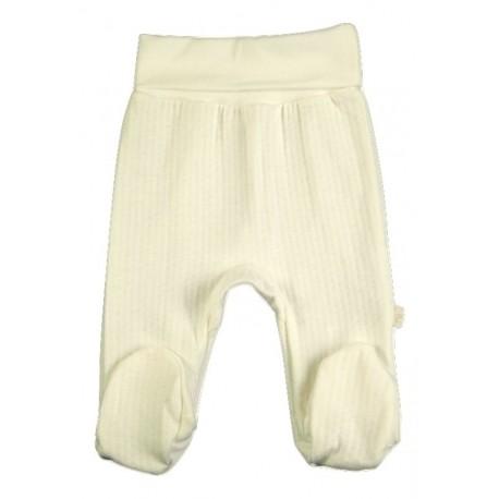 Baltos FLAMINGO kelnės kūdikiui su pėdutėmis