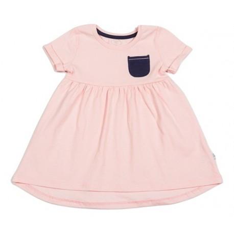 Rožinė trikotažinė suknelė mergaitei trumpomis rankovėmisFLAMINGO MS10043
