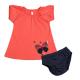 Komplektukas: suknelė trumpomis rankovėmis ir apatinės kelnaitės mergaitei FLAMINGO VKMP10046