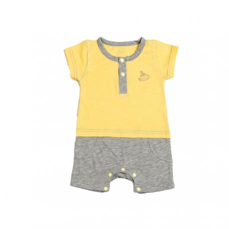 Geltonas trumpomis rankovėmis romperis berniukui FLAMINGO RO10004