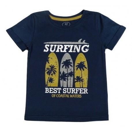 """Mėlyni trumpomis rankovėmis FLAMINGO marškinėliai berniukui """"Surfing"""""""