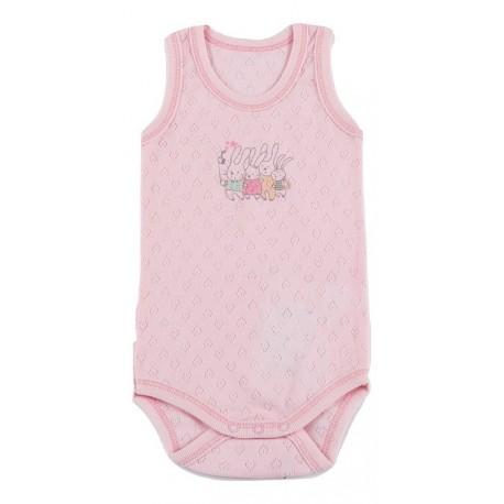 Labai plonos medvilnės, rožinis berankovis smėlinukas mergaitei vasarai FLAMINGO SMI10065