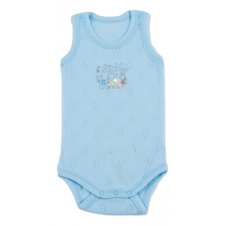Labai plonos medvilnės, mėlynas berankovis smėlinukas berniukui vasarai FLAMINGO SMI10066