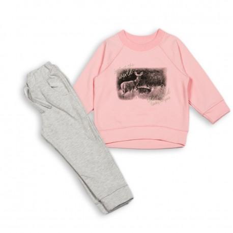 Šiltas komplektukas: džemperis ir kelnės mergaitei FLAMINGO MKMP10002