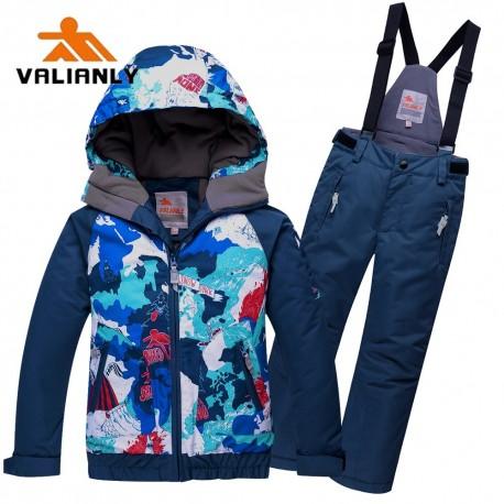 Mėlynas 2 dalių žieminis VALIANLY kombinezonas berniukui 8823B