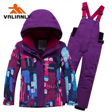 Violetinis 2 dalių žieminis VALIANLY kombinezonas mergaitei 8926/a