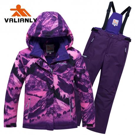 Violetinis 2 dalių žieminis VALIANLY kombinezonas mergaitei 8918/a