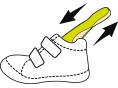Lipukai Dėka dvigubų lipukų Jūs galite lengvai nusiauti ir apsiauti batus.